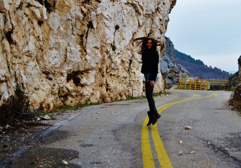 Despina on the road with the yellow lines..
